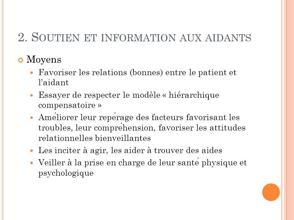 2. Soutien et information aux aidants