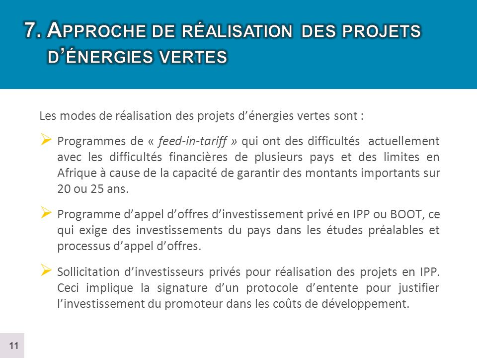 7. Approche de réalisation des projets d'énergies vertes