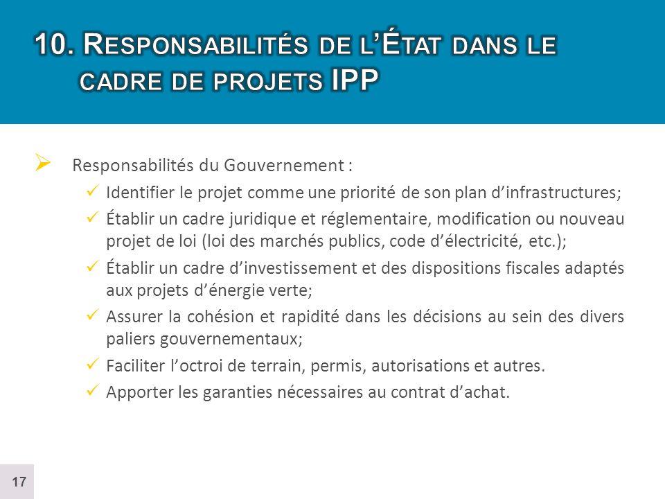 10. Responsabilités de l'État dans le cadre de projets IPP