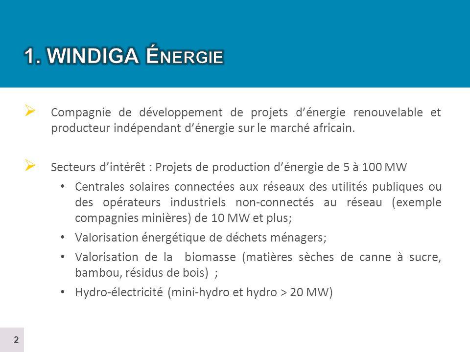 1. WINDIGA Énergie Compagnie de développement de projets d'énergie renouvelable et producteur indépendant d'énergie sur le marché africain.