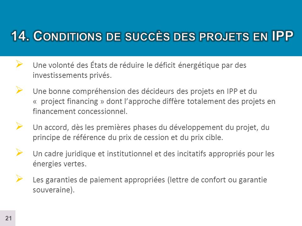 14. Conditions de succès des projets en IPP