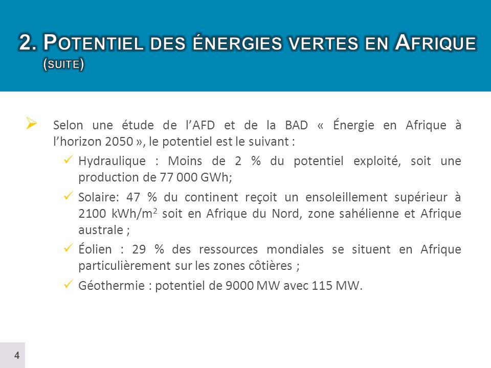 2. Potentiel des énergies vertes en Afrique (suite)