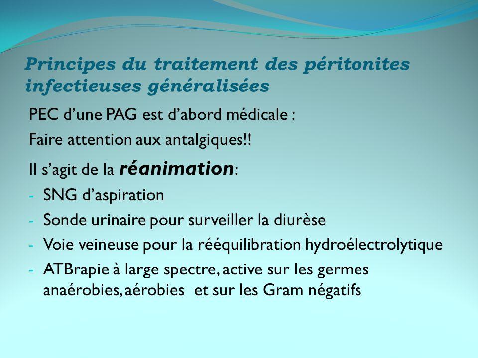 Principes du traitement des péritonites infectieuses généralisées