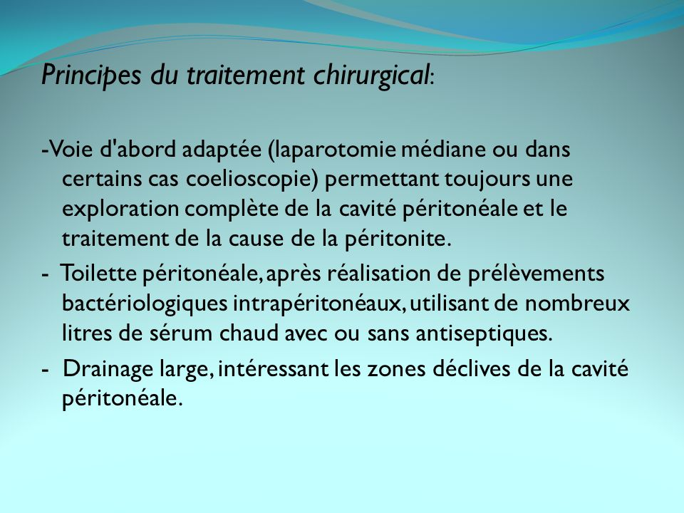Principes du traitement chirurgical: