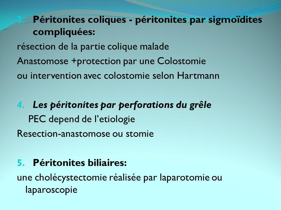 Péritonites coliques - péritonites par sigmoïdites compliquées: