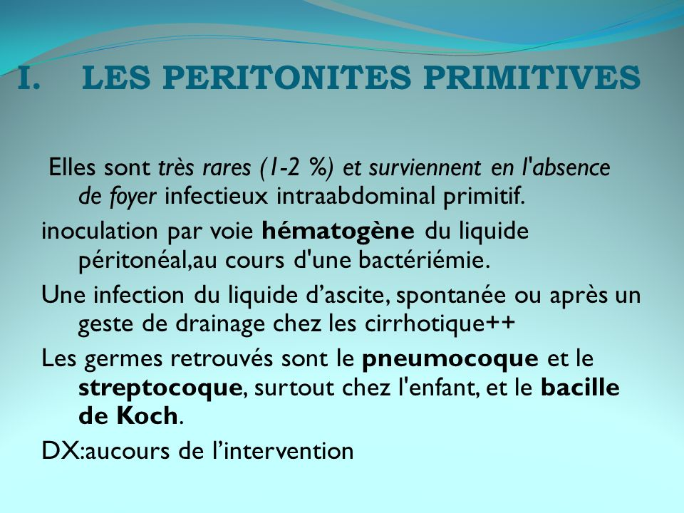 LES PERITONITES PRIMITIVES