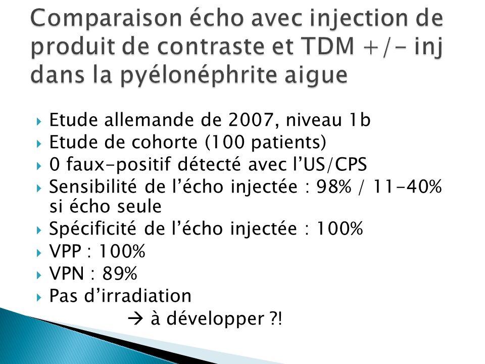 Comparaison écho avec injection de produit de contraste et TDM +/- inj dans la pyélonéphrite aigue