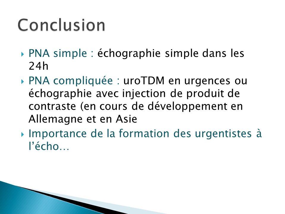 Conclusion PNA simple : échographie simple dans les 24h