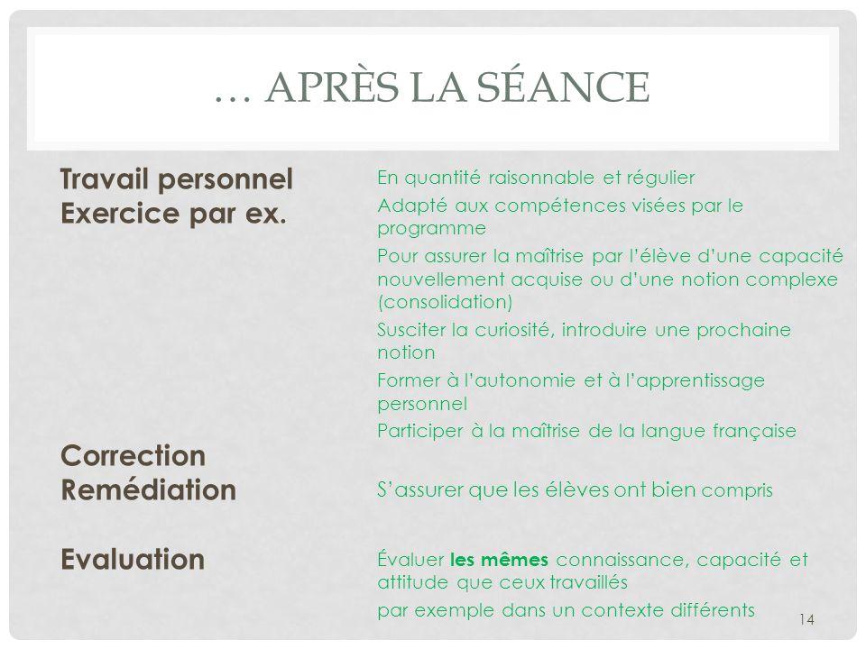 … Après la séance Travail personnel Exercice par ex. Correction Remédiation Evaluation