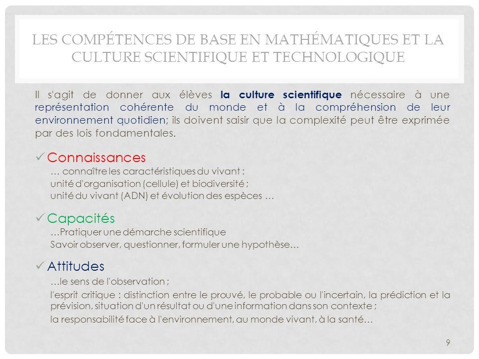 Les compétences de base en mathématiques et la culture scientifique et technologique