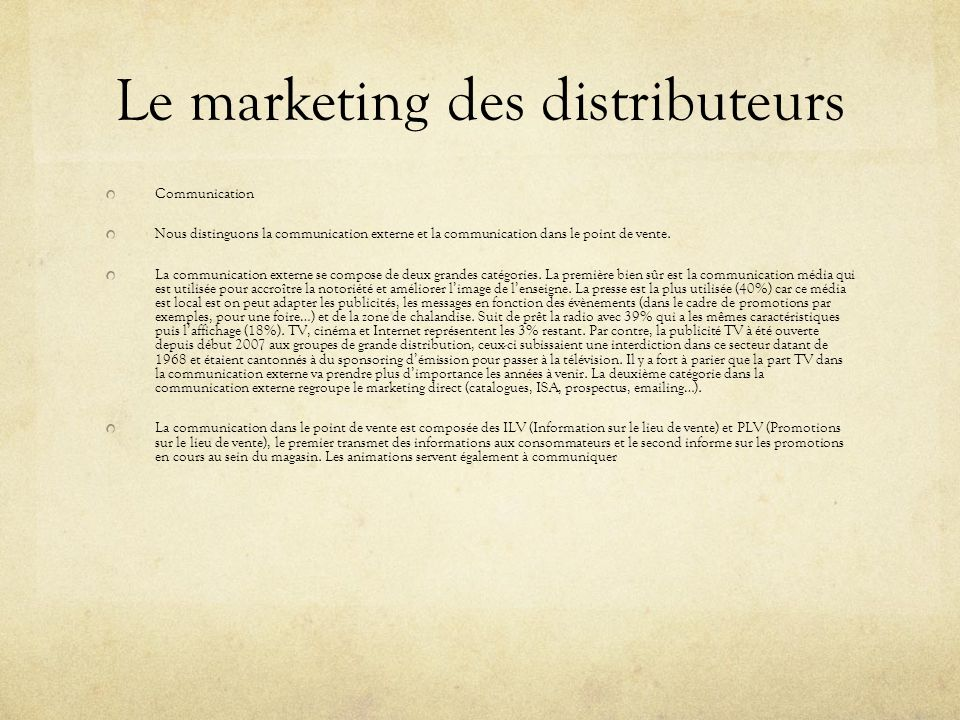 Le marketing des distributeurs