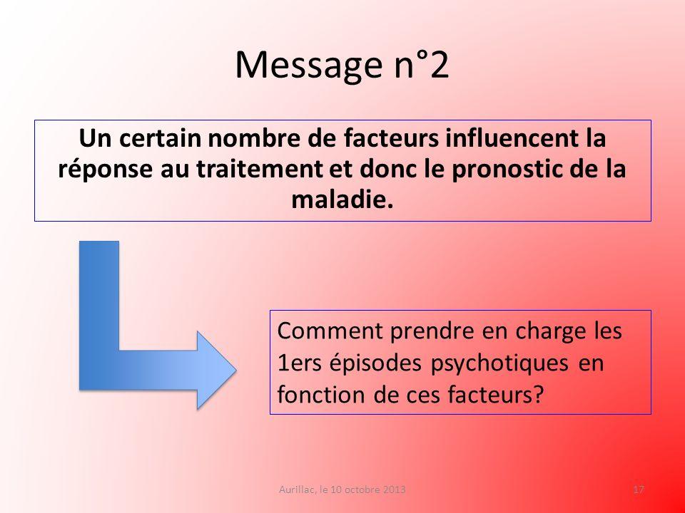 Message n°2 Un certain nombre de facteurs influencent la réponse au traitement et donc le pronostic de la maladie.