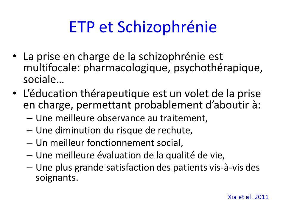 ETP et Schizophrénie La prise en charge de la schizophrénie est multifocale: pharmacologique, psychothérapique, sociale…