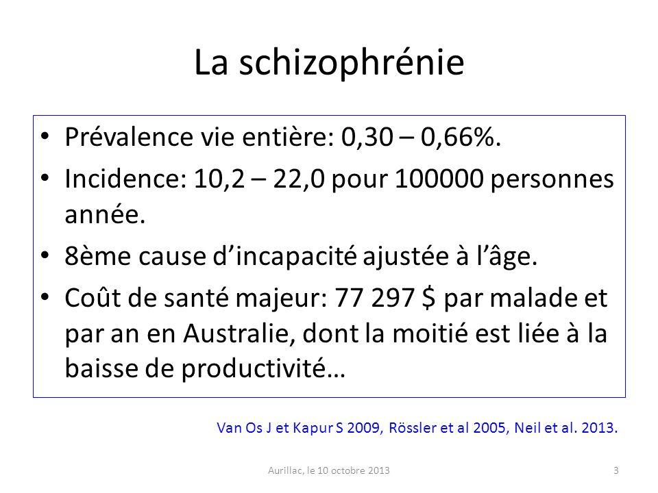 La schizophrénie Prévalence vie entière: 0,30 – 0,66%.