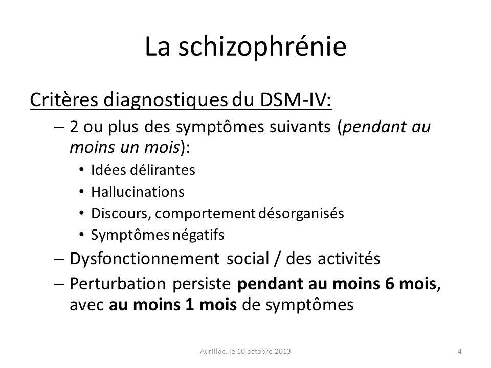 La schizophrénie Critères diagnostiques du DSM-IV: