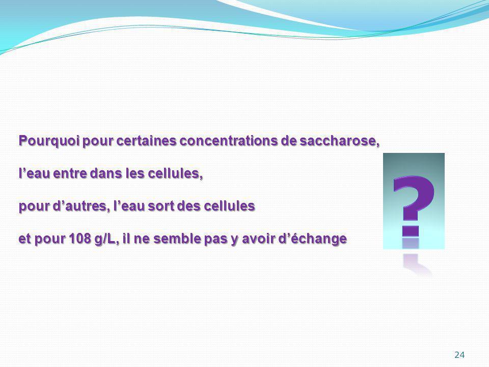 Pourquoi pour certaines concentrations de saccharose,