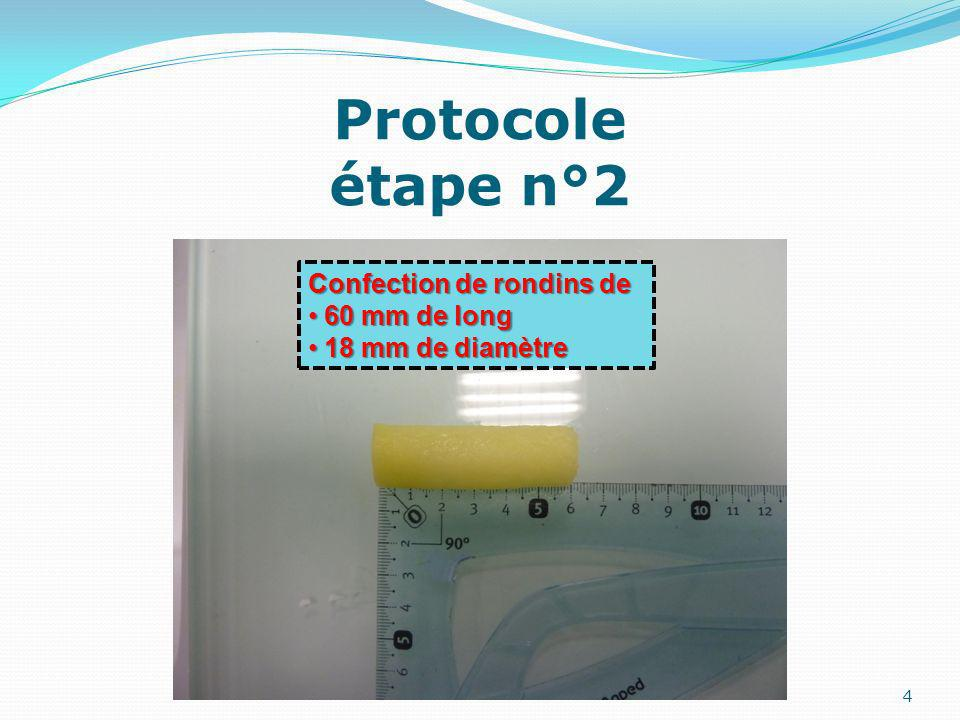 Protocole étape n°2 Confection de rondins de 60 mm de long