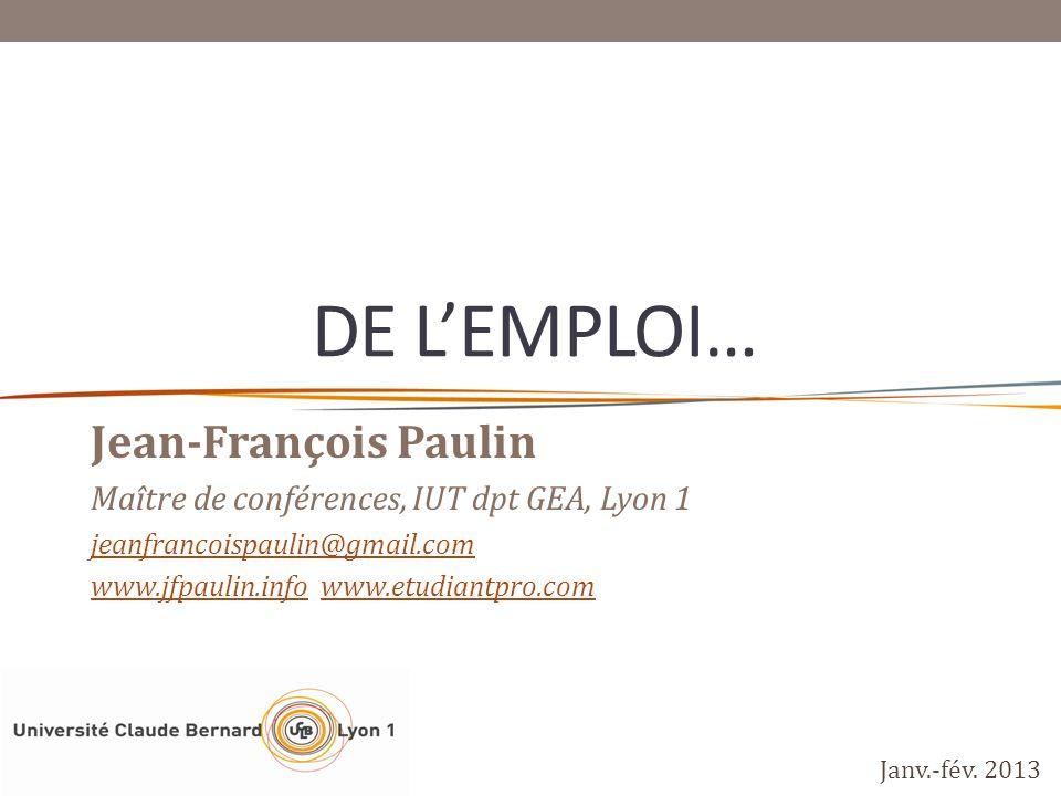 De L'emploi… Jean-François Paulin