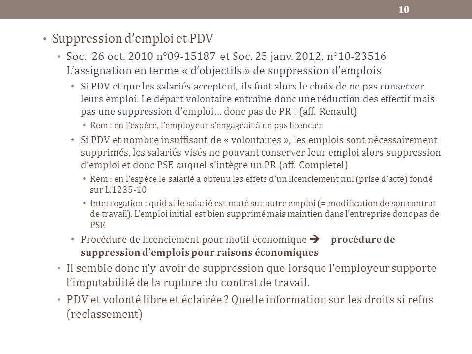 Suppression d'emploi et PDV