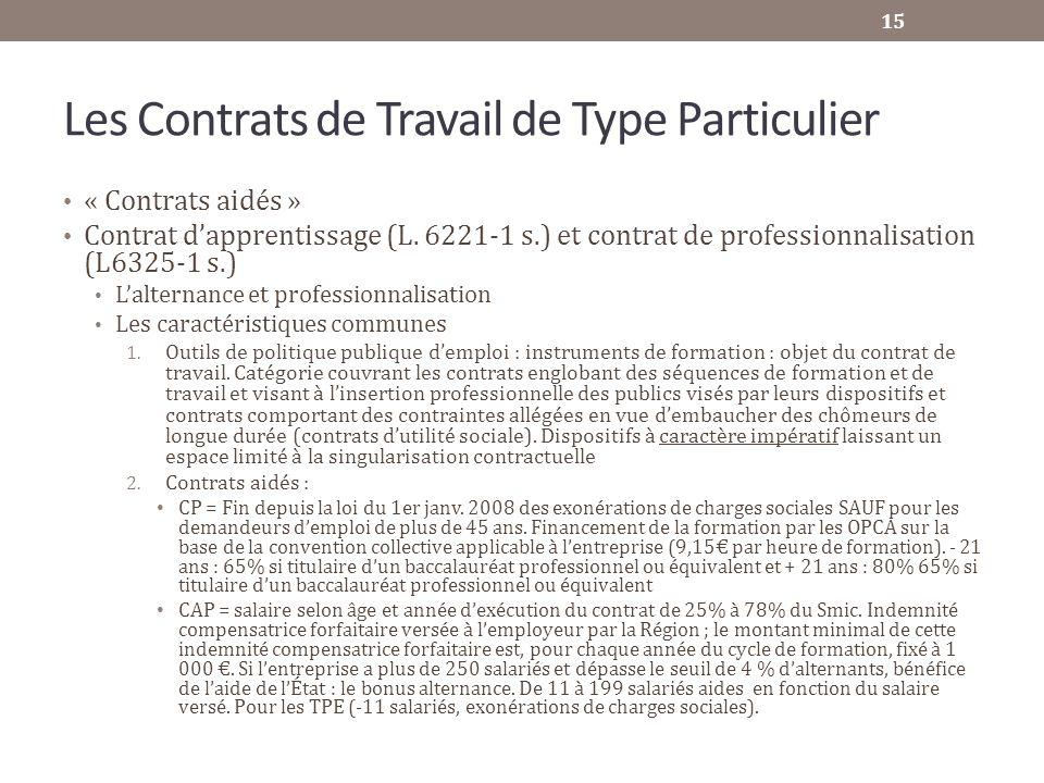 Les Contrats de Travail de Type Particulier