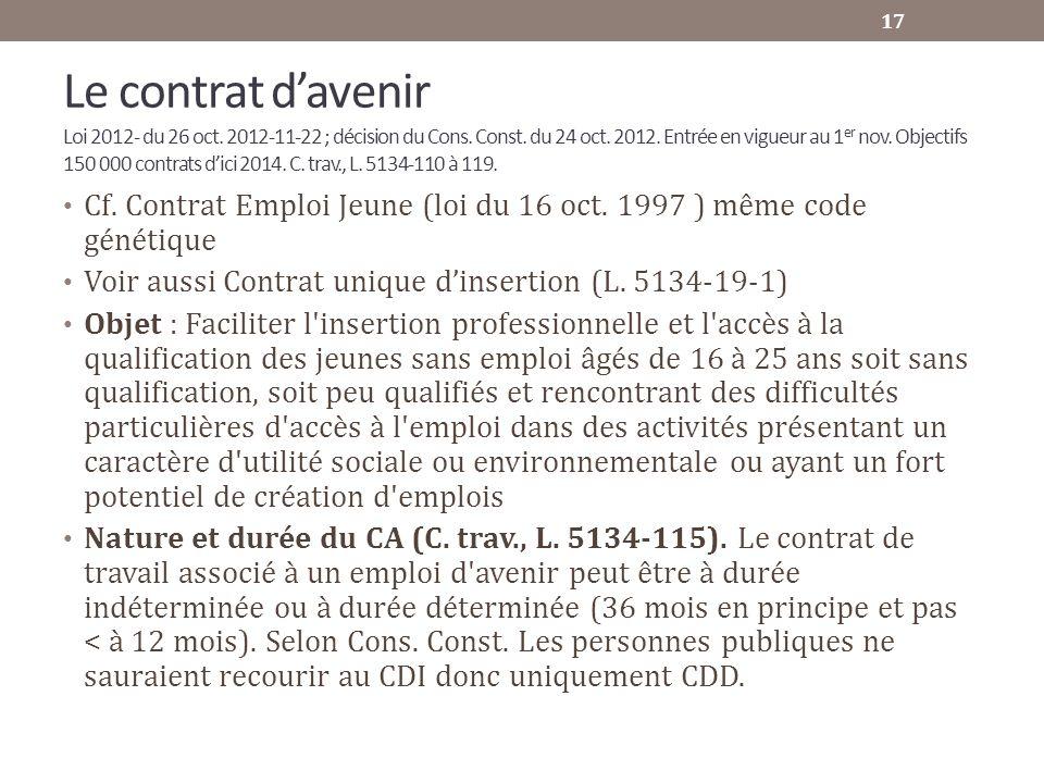 Le contrat d'avenir Loi 2012- du 26 oct. 2012-11-22 ; décision du Cons