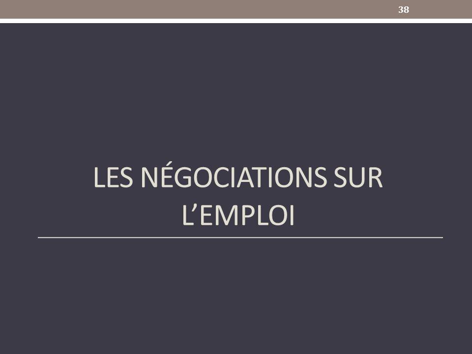 Les négociations sur l'emploi