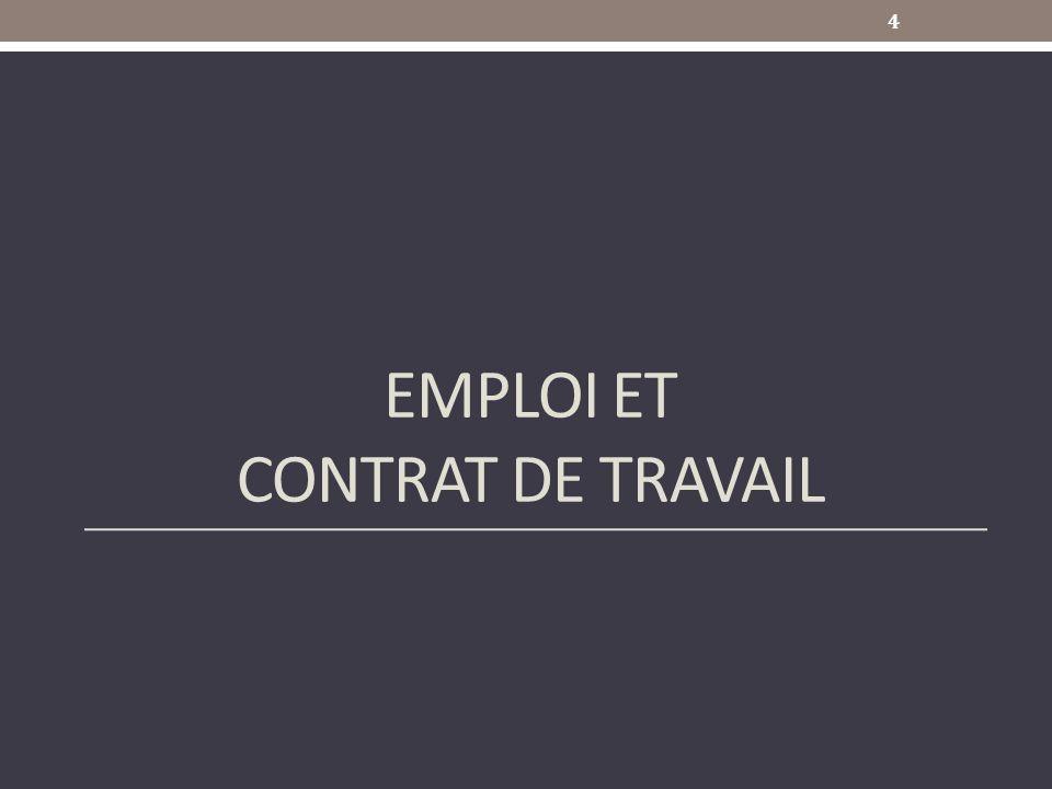Emploi et contrat de travail