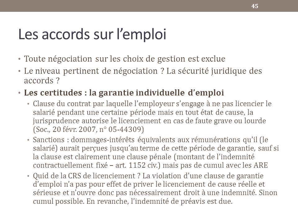 Les accords sur l'emploi