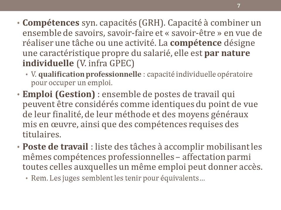Compétences syn. capacités (GRH)