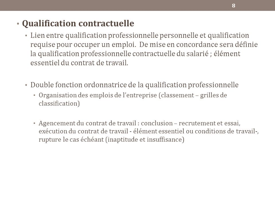 Qualification contractuelle