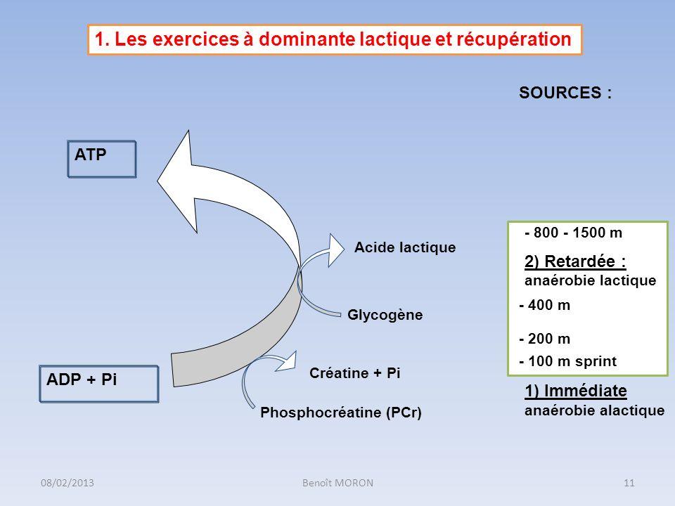 1. Les exercices à dominante lactique et récupération