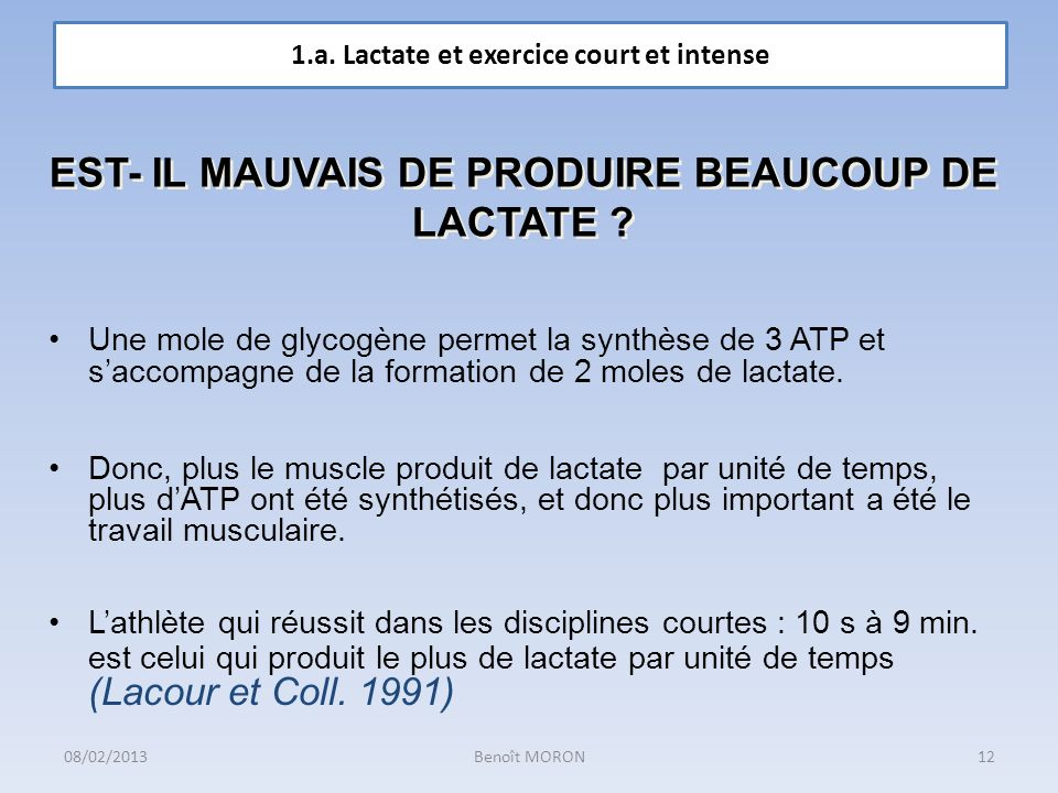 EST- IL MAUVAIS DE PRODUIRE BEAUCOUP DE LACTATE