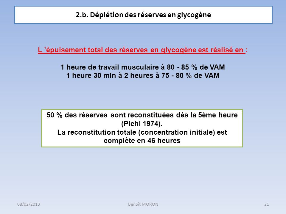 2.b. Déplétion des réserves en glycogène