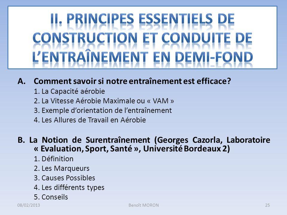 II. Principes ESSENTIELS DE CONSTRUCTION ET CONDUITE DE L'ENTRAînement en DEMI-FOND