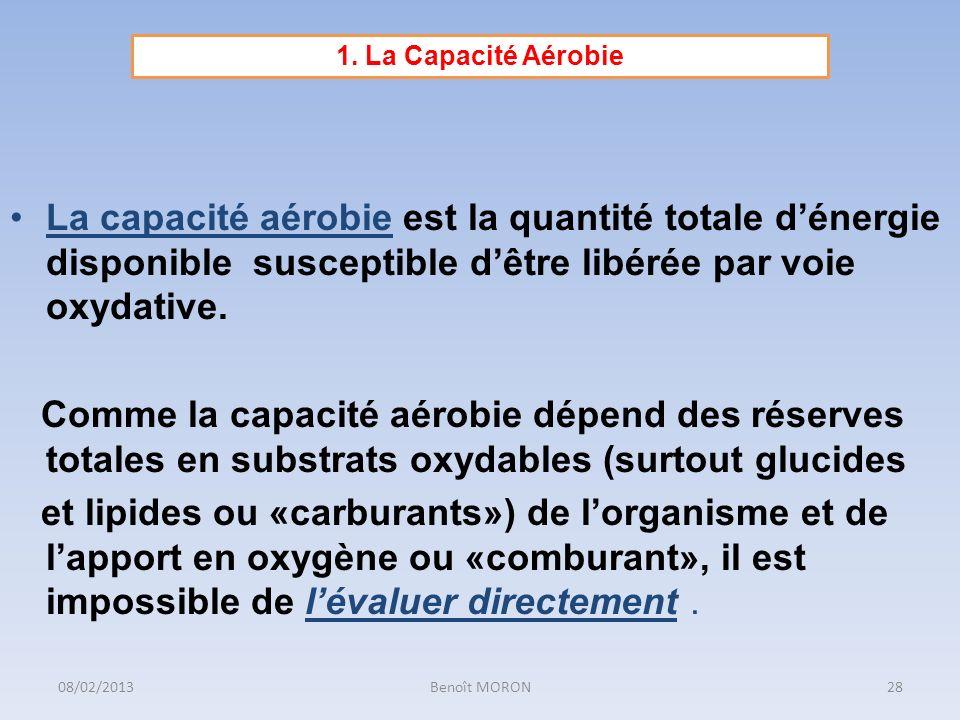 1. La Capacité Aérobie La capacité aérobie est la quantité totale d'énergie disponible susceptible d'être libérée par voie oxydative.