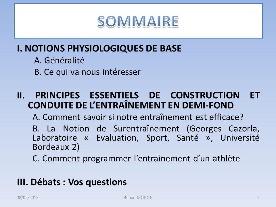 SOMMAIRE I. NOTIONS PHYSIOLOGIQUES DE BASE III. Débats : Vos questions