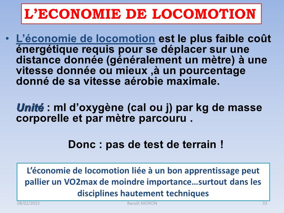 L'ECONOMIE DE LOCOMOTION