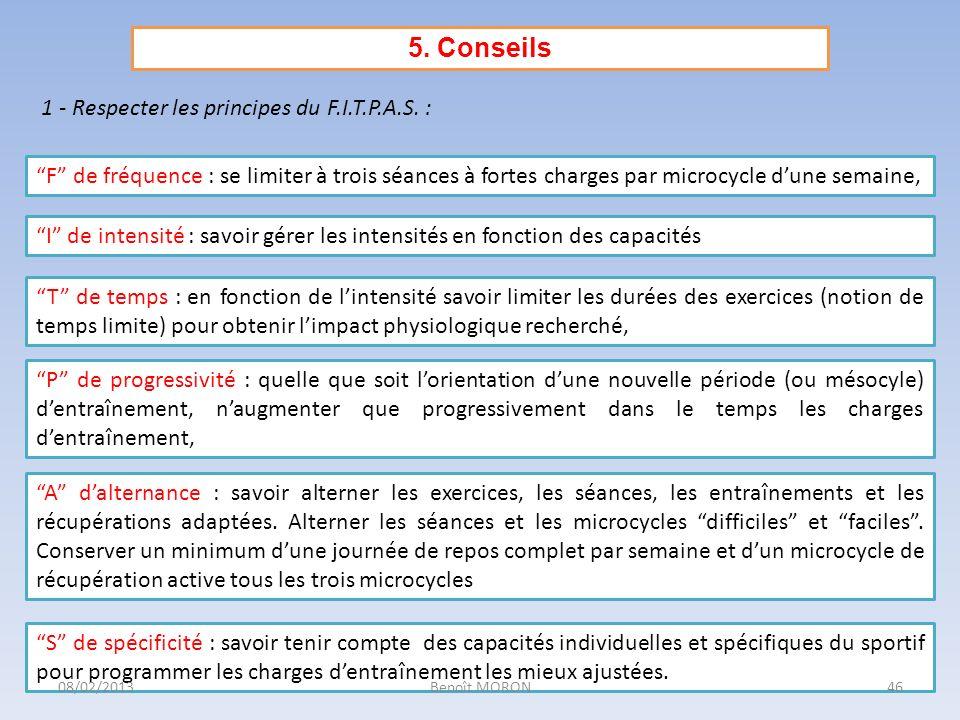 5. Conseils 1 - Respecter les principes du F.I.T.P.A.S. :