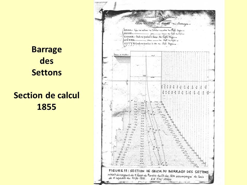 Barrage des Settons Section de calcul 1855