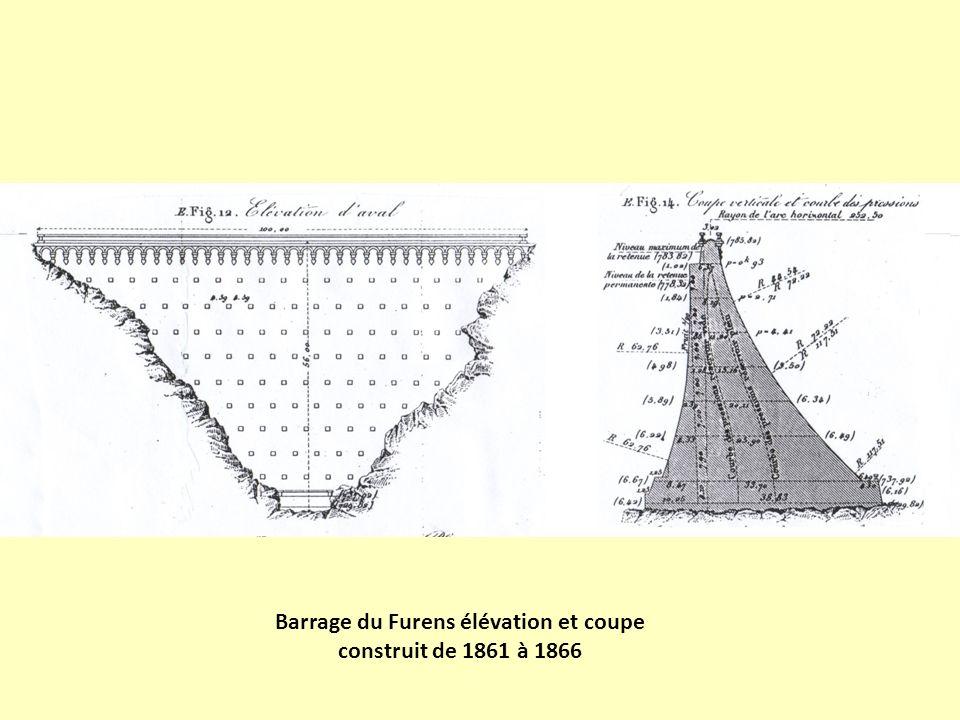 Barrage du Furens élévation et coupe