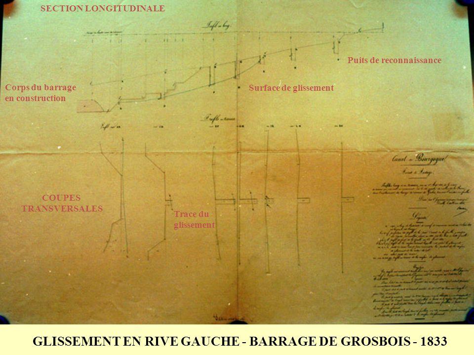 GLISSEMENT EN RIVE GAUCHE - BARRAGE DE GROSBOIS - 1833