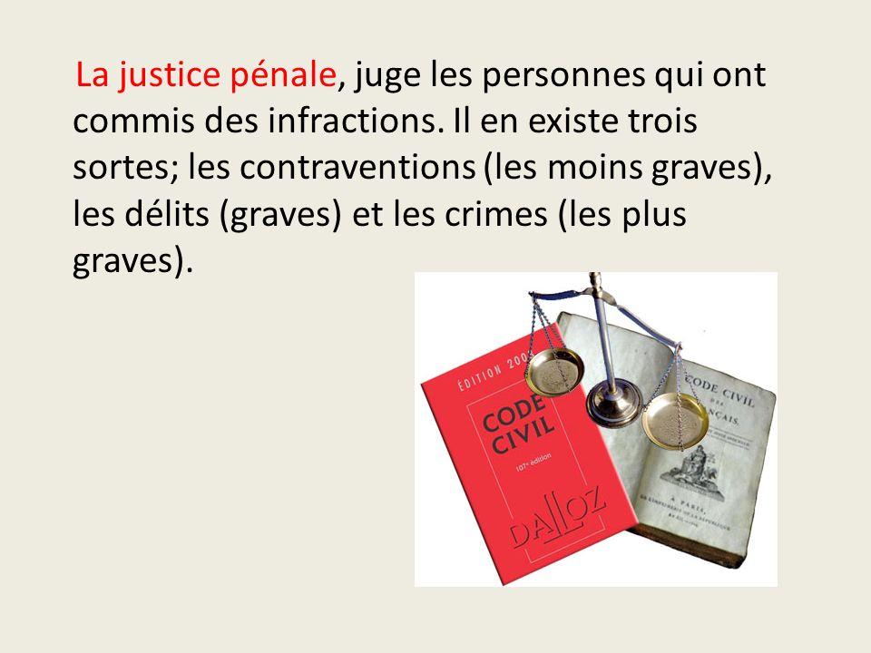 La justice pénale, juge les personnes qui ont commis des infractions