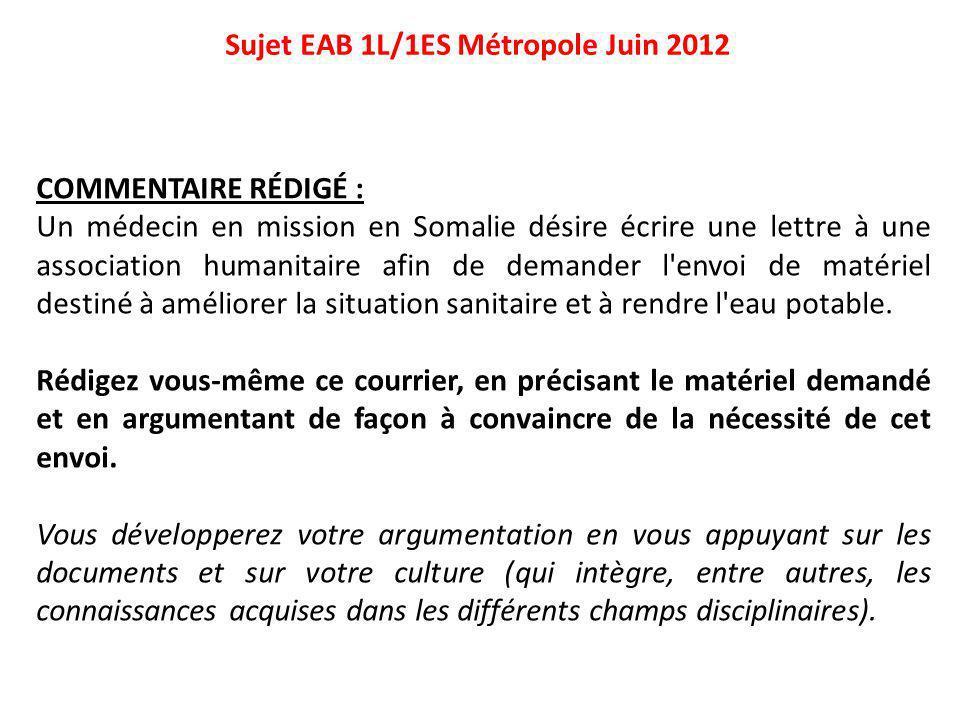 Sujet EAB 1L/1ES Métropole Juin 2012