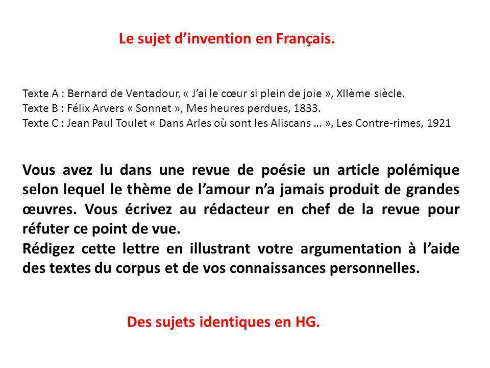 Le sujet d'invention en Français.