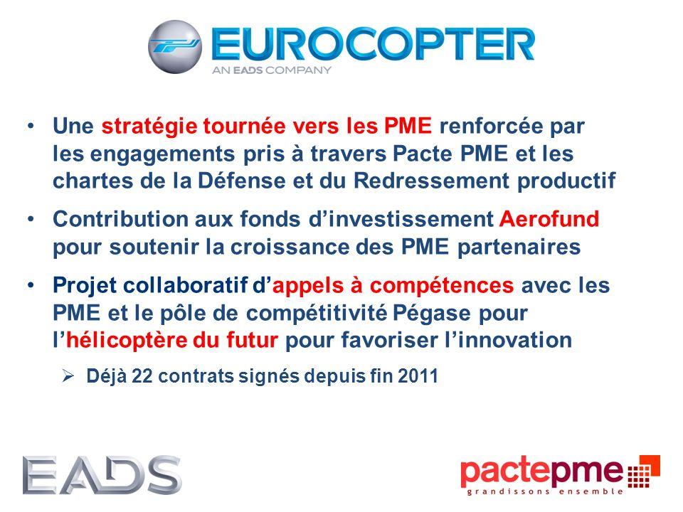 Une stratégie tournée vers les PME renforcée par les engagements pris à travers Pacte PME et les chartes de la Défense et du Redressement productif