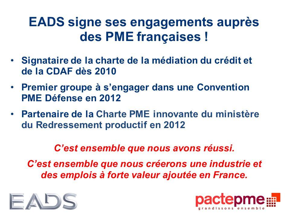 EADS signe ses engagements auprès des PME françaises !