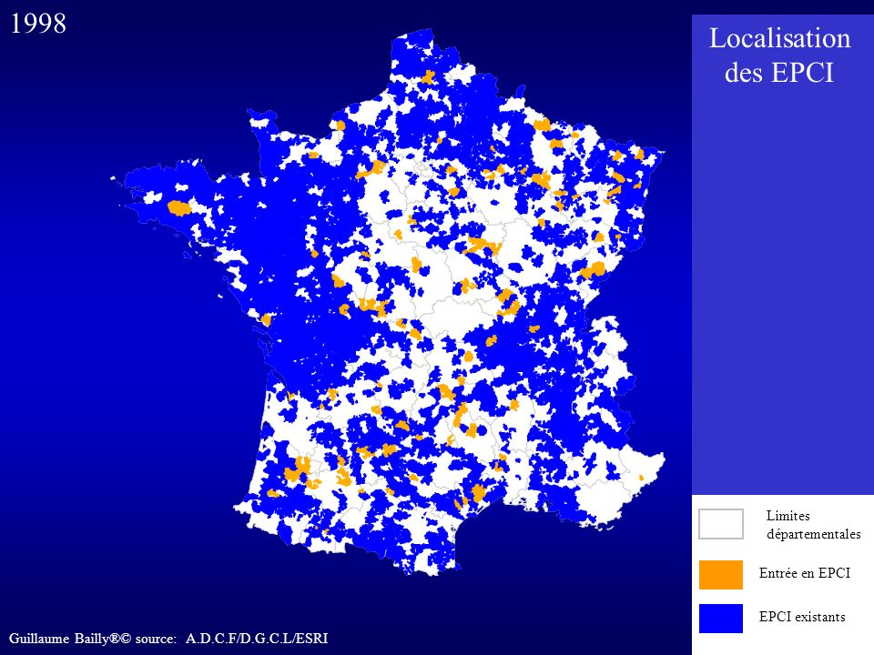 1998 Localisation des EPCI Entrée en EPCI EPCI existants