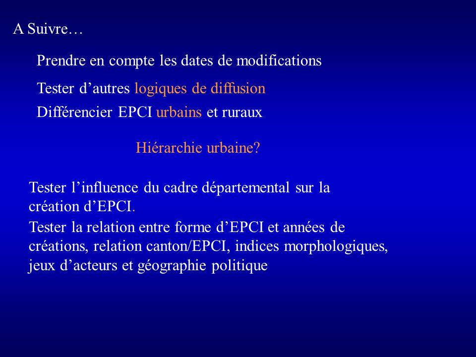 A Suivre…Prendre en compte les dates de modifications. Tester d'autres logiques de diffusion. Différencier EPCI urbains et ruraux.