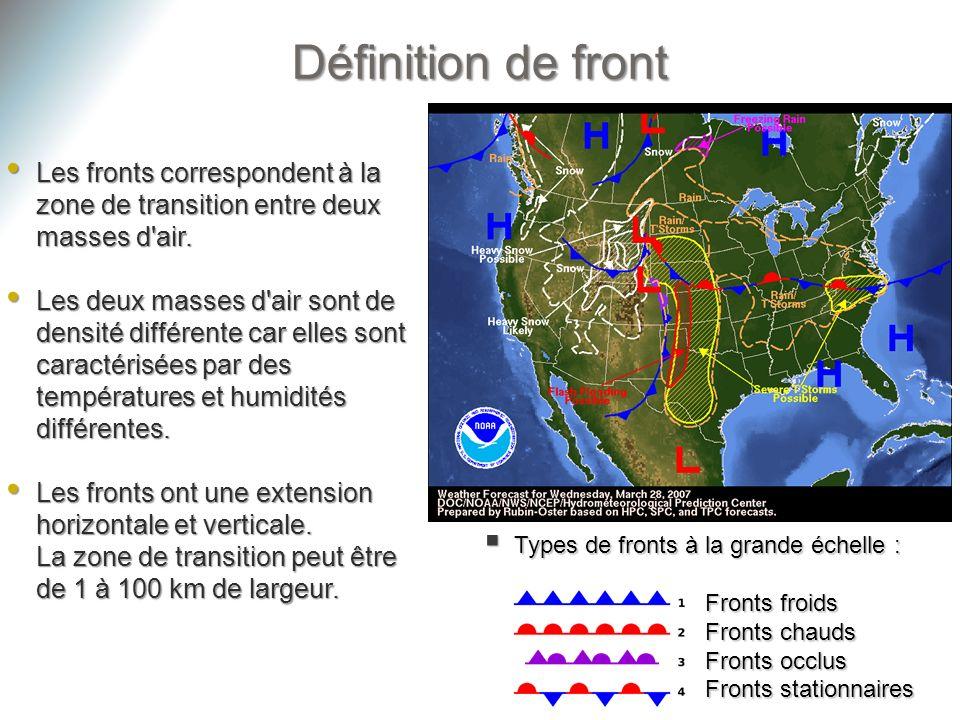 Définition de front Les fronts correspondent à la zone de transition entre deux masses d air.