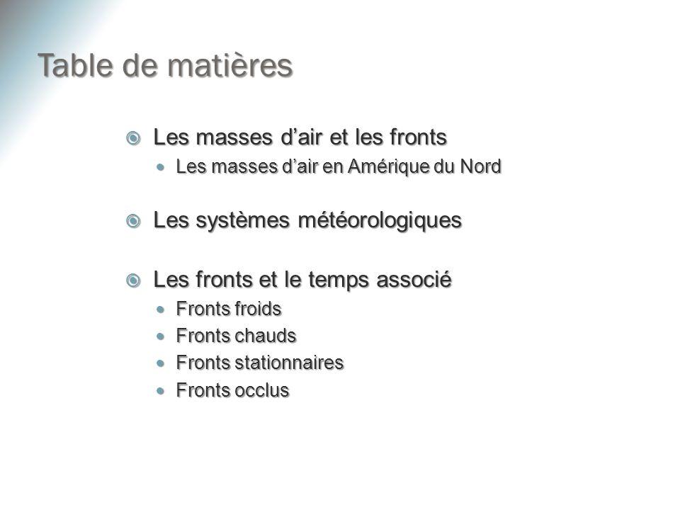 Table de matières Les masses d'air et les fronts